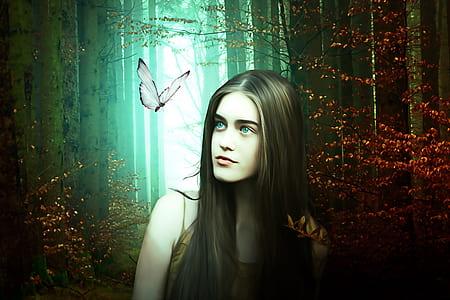 woman in wilderness beside white butterfly