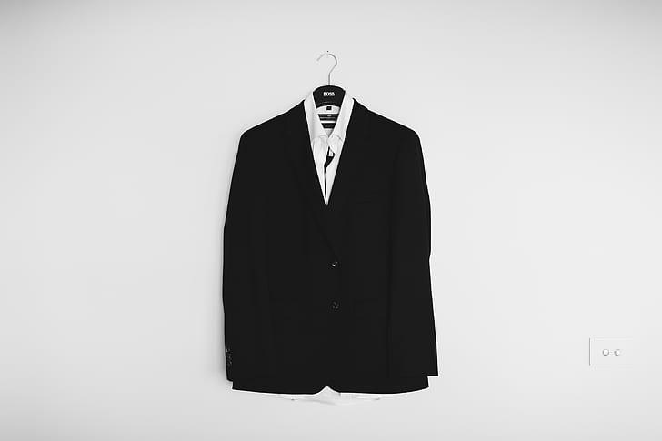 black suit jacket and white dress shirt