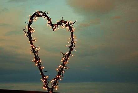 heart-shaped frame with string lights