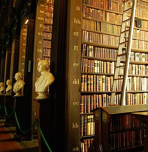 white armless man headbust beside books