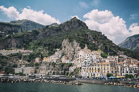 The seaside town of Amalfi sits on the Amalfi Coast in Italy