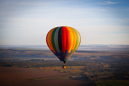 yellow, red, and green hot air balloon