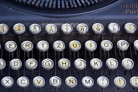black type writer