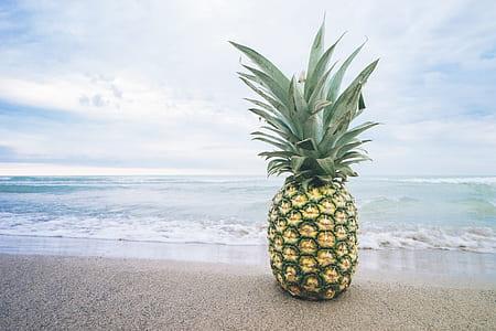 pineapple on beach shore