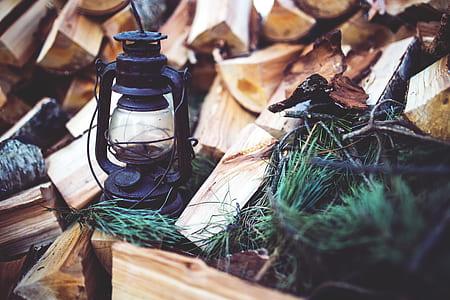 black tubular lantern