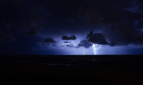 lightning strike from stormy clouds