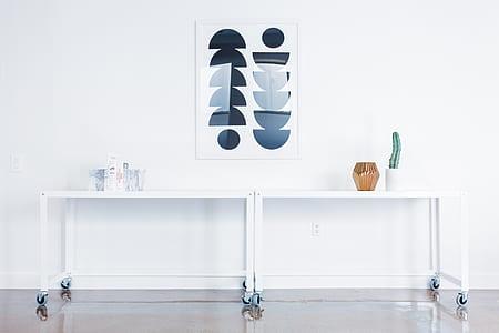 white rolling desks