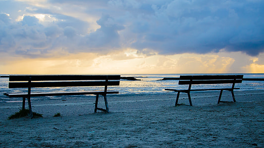 two silhouette benches near seashore at daytime