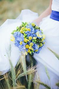 blue hydrangea flowers and green echeverias wedding bouquet