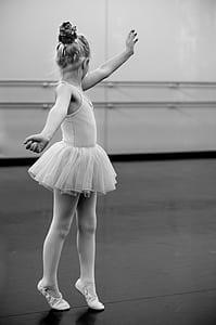 grayscale photography of girl ballerina