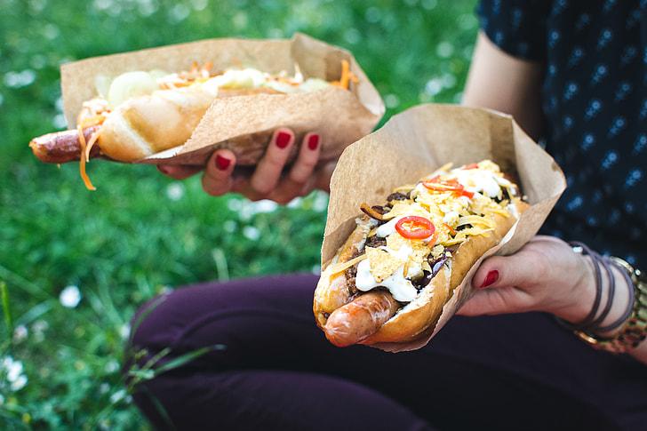 Royalty-Free photo: Hot dog in hands | PickPik