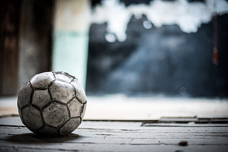 white and black soccer ball