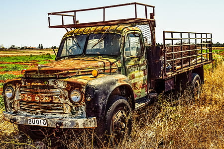 rusty truck on grass field