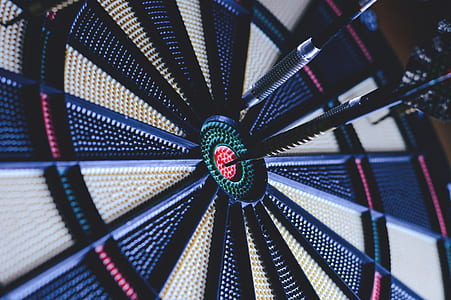 dart board with pins