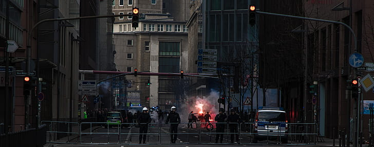 police, flare, urban, protest, building, city