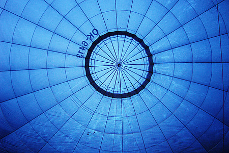 Interior shot captured from the inside of a blue hot air balloon