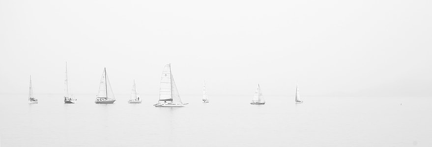 white boat's on sailing