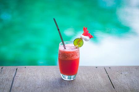 Closeup shot of strawberry fruit drink