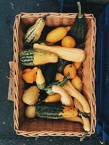 Decorative pumpkins at farmers market