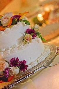 Green Yellow White and Purple Floral 2 Layered Cake