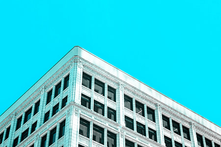 Building with a perfect blue sky