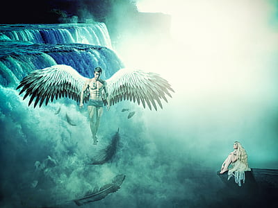 woman sitting on rock formation looking up at winged man flying above fogs beside waterfalls