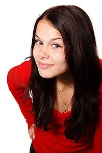 girl in red long-sleeved top