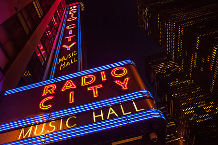 Wide-angle shot of the famous Radio City music hall in Manhattan, New York City