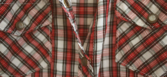 gray, black and red plaid dress shirt with chest pocket