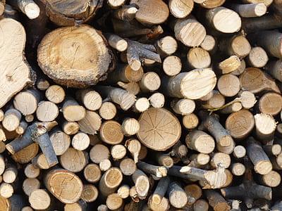 brown firewood pile
