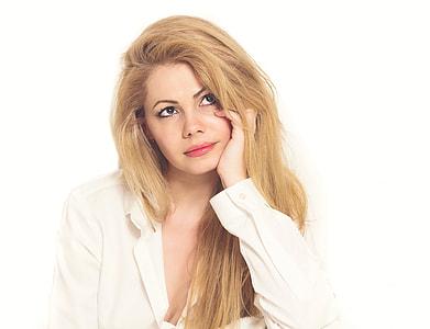 woman wearing white dress shirt