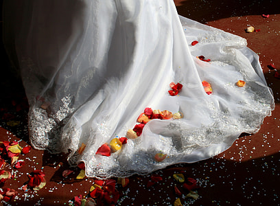 white gown with petals
