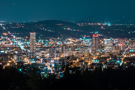 Night shot of the city of Portland