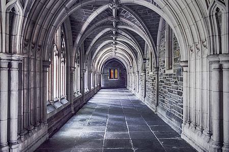 hallway of concrete building