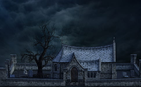 gray castle under the black sky