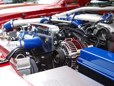 blue and chrome engine bay