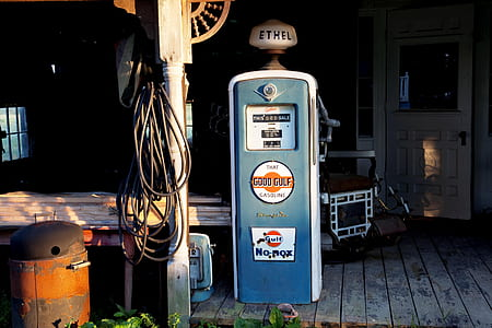 blue and gray Ethel gasoline