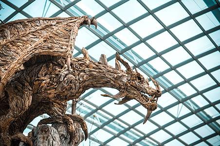 brown dragon wood carving