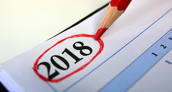 2018 written on white paper