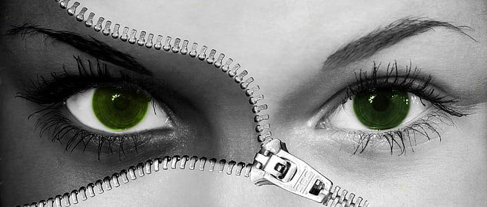 human eyes close-up photo