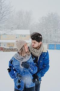woman and man wearing blue denim jackets