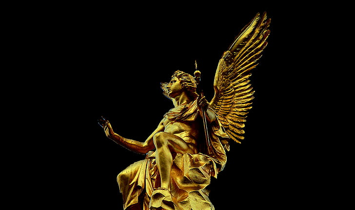 bottom view of gold-colored angel statue