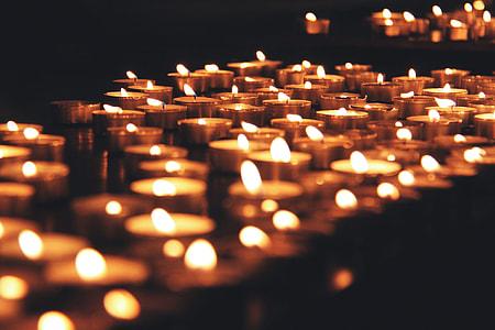 Closeup shot of candles at Christmas