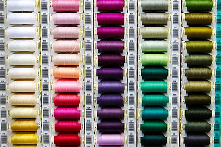 close-up photo of assorted-color threads