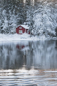 red and white wooden house near the lake