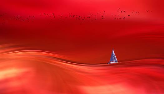 blue boat floating on red water painting