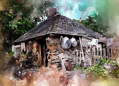 stone house near trees