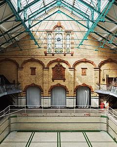 beige brick building interior