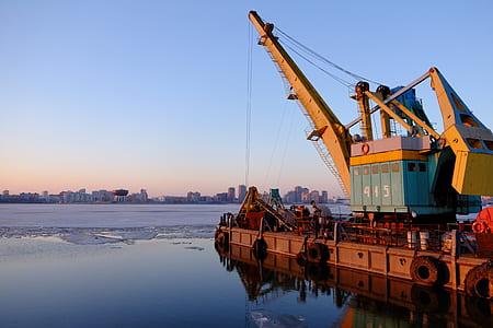 crane, equipment, dock, industry, industrial, heavy