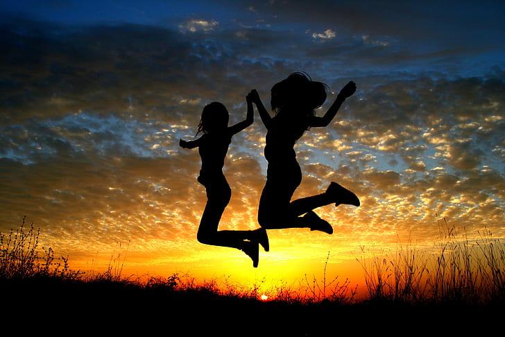 girl, sunset, balloons, bounce, flight, sun